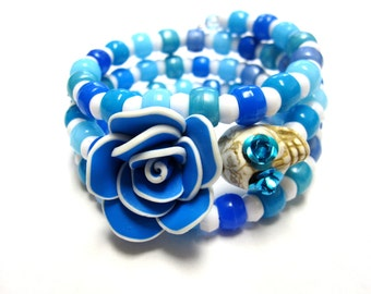 Day of the Dead Bracelet Sugar Skull Wrap Around Cuff Turquoise Blue White Rose