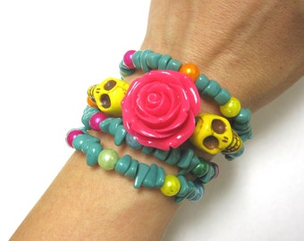 Day of the Dead Bracelet Pink Turquoise Blue Yellow Pink Sugar Skull Cuff