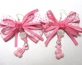 Cherry Earrings Pink Cherries Bow Polka Dot