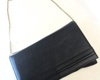Blue Leather Purse Ande Clutch Handbag