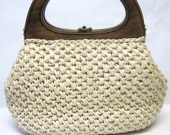 Cream Ivory Purse Handbag Donna John Wind Imports Natural Paper Fiber Vegan Woven Wood