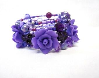 Purple Day of the Dead Bracelet Sugar Skull Wrap Around Cuff Rose Skulls