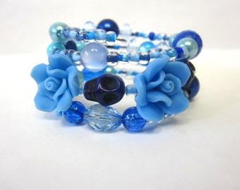 Summer Sky Day of the Dead Bracelet Sugar Skull Wrap Around Cuff Blue Rose Skulls