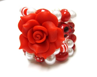 Sugar Skull Bracelet Day Of The Dead Wrap Cuff White Red Rose