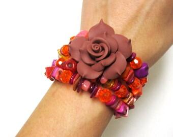 Day of the Dead Bracelet Sugar Skull Jewelry Rose Brown Orange Yellow Purple