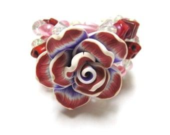 Day Of The Dead Bracelet Sugar Skull Pink Red Purple Passion Flor de Muertos Jewelry