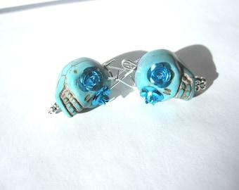 Sugar Skull Earrings Day Of The Dead Dangle Turquoise Blue