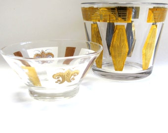 Gold Paneled Clear Bowl Dish Set Of Two Glass 50's Modern