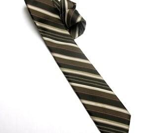 Gray Green Ivory Tan Striped Necktie Don Loper Skinny
