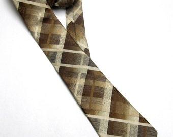 Brown Cream Necktie Don Loper Beverly Hills Neck Tie