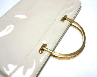 Ivory Handbag Clutch Glossy Purse