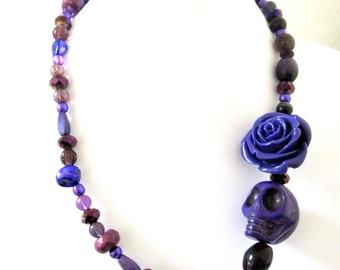 Sugar Skull Necklace Day of the Dead Jewelry Purple Rose
