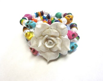 Day Of The Dead Bracelet Sugar Skull Rose Cuff Wrap White Blue Pink Yellow