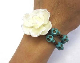 Day Of The Dead Bracelet Sugar Skull Rose Turquoise Blue White Two Strand