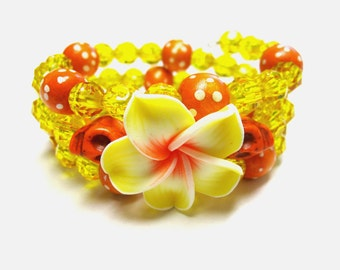 Day Of The Dead Bracelet Sugar Skull Jewelry Flower Hibiscus Cuff Orange Yellow