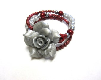 Day Of The Dead Bracelet Sugar Skull Jewelry Red Silver Rose