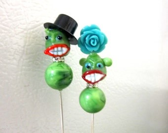 Day of the Dead Monster Zombie Cake Topper Sugar Skull Gothic Wedding Lapel Pin Hat Pin Bride & Groom - Rockabilly Sweeties