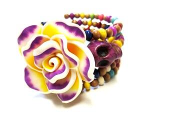 Sugar Skull Bracelet Day Of The Dead Jewelry Purple Yellow Blue  White Rose