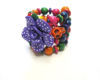 Day of the Dead Bracelet  Purple Pink Green Yellow Sugar Skull Wrap Around Cuff