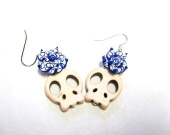 White Sugar Skull Earrings Day Of The Dead Blue Rose