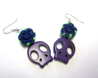 Purple Sugar Skull Earrings Day Of The Dead