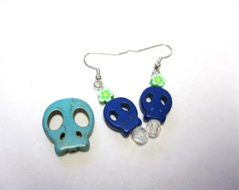 Teeny Tinys Sugar Skull Earrings Day Of The Dead Jewelry Monster Blue Skulls & Flowers