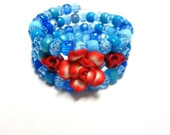 Blue Day of the Dead Bracelet Red Sugar Skull Wrap Bracelet