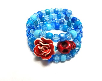 Fruit Slices Blueberry Blue Day of the Dead Bracelet Sugar Skull Wrap Bracelet Red