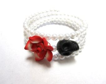 Red Rose Day of the Dead Bracelet Black Sugar Skull Wrap Cuff