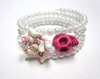 Skull Bracelet Day Of The Dead Jewelry Pink White Rose