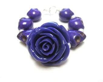 Day of the Dead Bracelet Sugar Skull Strand Rose Purple Silver Jewelry
