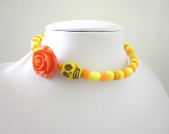 Sugar Skull Necklace Day Of The Dead Choker Yellow Orange Rose