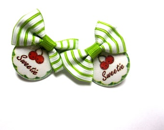 Rockabilly Sweetie Jewelry Fresh Fruit Cherry Earrings Day Of The Dead Bow Post Red Green
