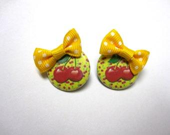 Cherry Earrings Day Of The Dead Yellow Bow Post Earrings
