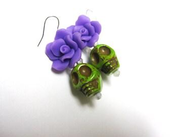 Green Purple Rose Day of the Dead Earrings Sugar Skull Jewelry