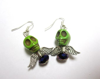 Green Sugar Skull Earrings Day of the Dead