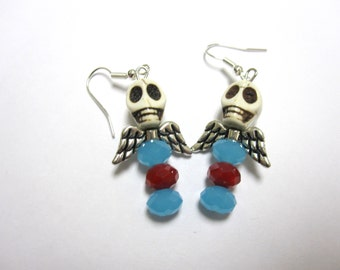 Red White Blue Wings Rose Day of the Dead Earrings Sugar Skull Jewelry