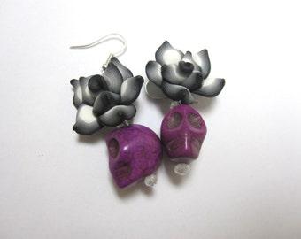 Purple Black White Rose Day of the Dead Earrings Sugar Skull