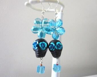 Sugar Skull Earrings Day Of The Dead Black Turquoise Blue Flower