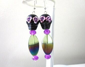 Day of the Dead Earrings Sugar Skull Jewelry Black Purple