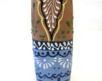 Blue Brown Vase Handpainted Clay Pottery Signed