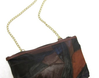 Brown Patchwork Purse 80s Clutch Handbag