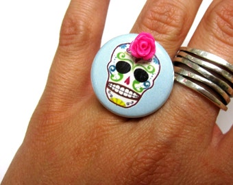 Baby Blue Sugar Skull Ring - Adjustable Dia de los Muertos Jewelry