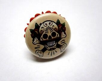 Tattoo Style Sugar Skull Ring - Adjustable