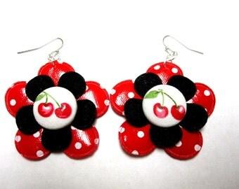 Rockabilly Cherry Earrings Jewelry White Red Black Cherries Polka Dot