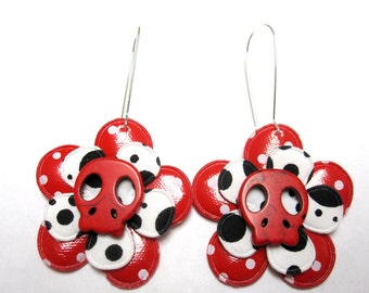 Sugar Skull Earrings Day of the Dead Jewelry White Red Black