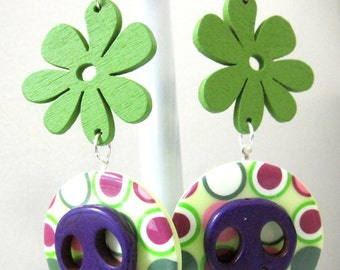 Sugar Skull Earrings Day Of The Dead Fuchsia Green Purple Flower Polka Dot