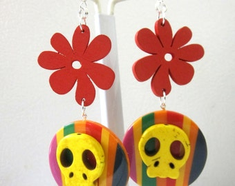 Sugar Skull Earrings Red Yellow Day Of The Dead