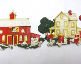 Farm House Barn Wall Hanging Plaque Art 2 Pc Set Red White 1975 Homeco