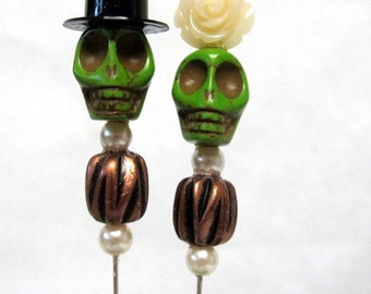 Meant to Be Day of the Dead Cake Topper Sugar Skull Gothic Wedding Lapel Pin Hat Pin Bride Groom